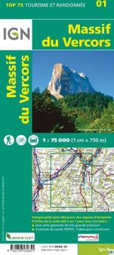 Carte IGN TOP75 Massif Vercors