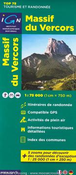 Carte topographique IGN TOP 75 Massif du Vercors