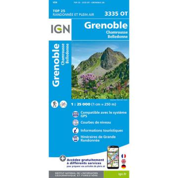 Carte IGN TOP 25 Grenoble 3335 OT